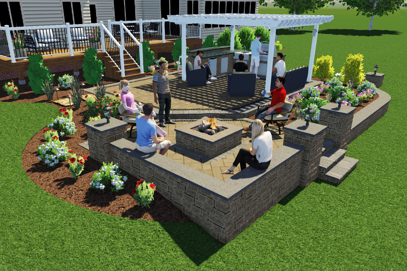 friends in backyard enjoying new hardscape design